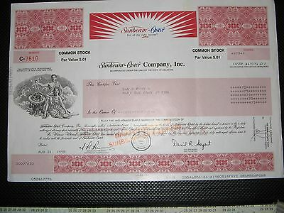 Sunbean Oster Company, Inc Stock Certificate ( Hard To Find )