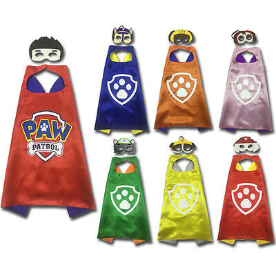 Paw Patrol Superhero Kids Cape + Mask Costume Party Set Fancy Dress Up Outfit