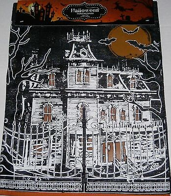 """Halloween Table Runner 13"""" X 72""""  HAUNTED HOUSE 100% Polyester"""