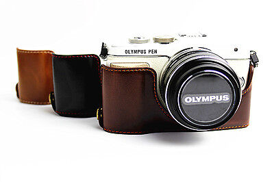 Leather Half Camera Bottom Case Bag To Olympus PEN E-PL8 EPL8 black brown coffee