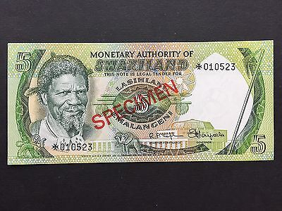 Swaziland Five 5 Emalangeni Specimen Note Without Any Date Uncirculated UNC
