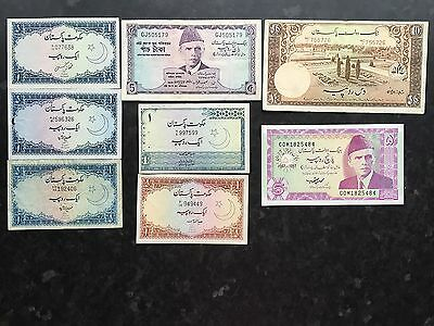 Pakistan 8 x Banknotes 1 5 & 10 Rupees Fine to Uncirculated UNC
