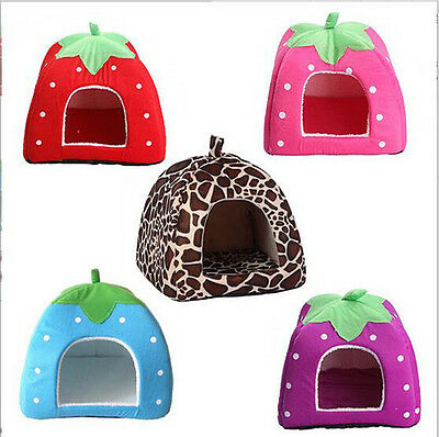 Foldable Soft Warm Strawberry Kennel Bed Nest House For Pet Dog Cat Piggy + Mat