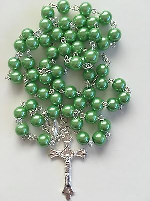 ROSARY BEADS - GREEN with 40mm CRUCIFIX  & MARIAN CENTRE
