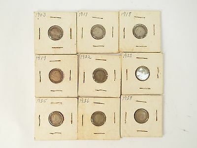 Lot of 9 Great Britain Threepence Coins 1903-1938 - 3 Pence British
