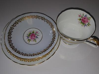 Vintage Aynsley England Bone China Trio 7923 Trio Pink Roses Cup Saucer Plate