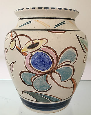 Vintage Honiton Pottery Art Deco Vase Signed D Hickmott & Dated Oct 1948 15cms.