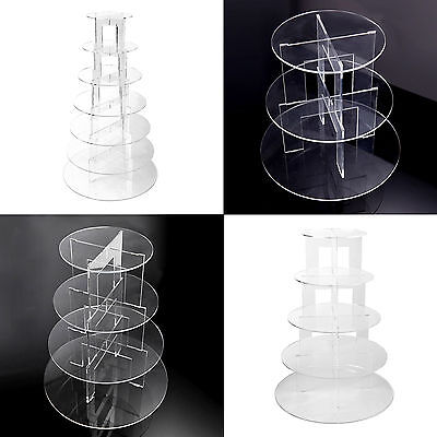 Round Clear Acrylic Cupcake Cake Stand Wedding Party Display Tower 3/5/7 Tiers