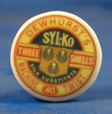 1 inch China Collectable Sewing Button -- Dewhursts Sylko Thread