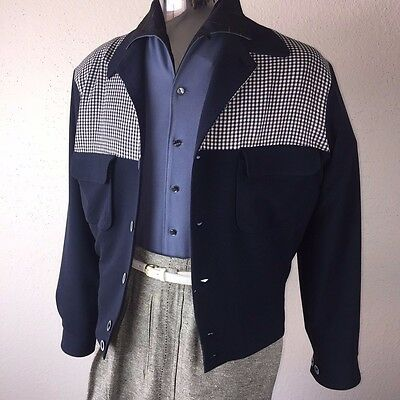 VINTAGE 1950s ROCKABILLY VLV ATOMIC CHECKERED 2TONE RICKY SWANKYS JACKET- XL-3X