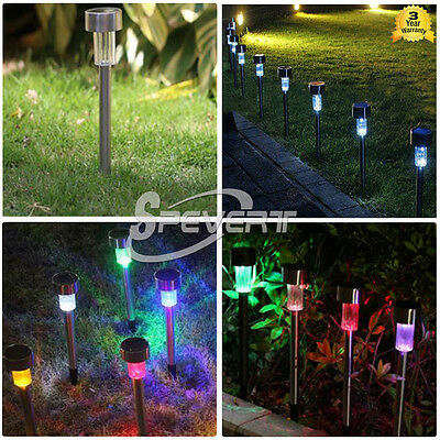 HOT Solar Stainless Steel LED Path Lights Garden Flood Lamp Lane Color Changing