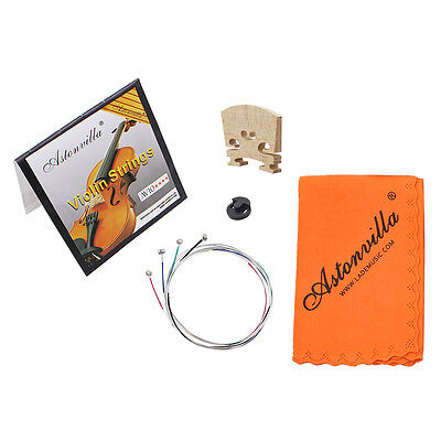 Violin Strings 4 Strings (E A D G) Set Rubber Mute/Maple 4/4 Cleaning Cloth Pack