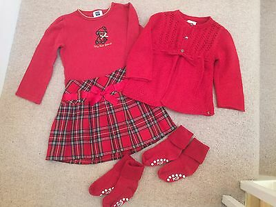 Girl's red skirt, top and cardigan outfit - age 2-3 years