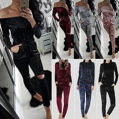 Women Velour Velvet Jogging Top Casual Tracksuit Matching Suit Loungewear Sports