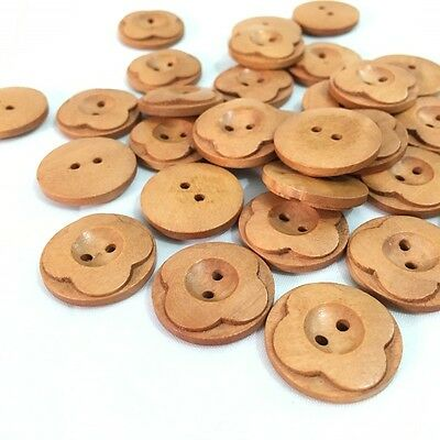 50PCs DIY flower round wooden buttons 25mm sewing for craft scrapbooking