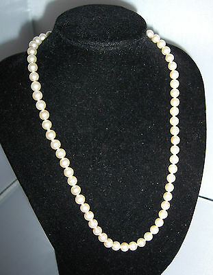 Classic Original Vintage Glass Pearl KNOTTED Necklace