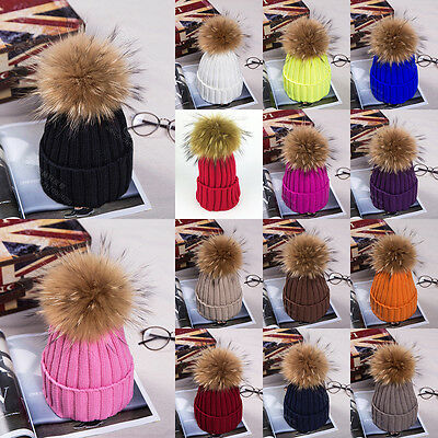 Womens Ladies Warm Wool Knitted Raccoon Fur Pom Beanie Bobble Ski Hat Slouch Cap
