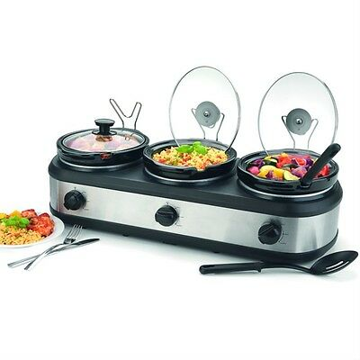 Triple Buffet Server Hot Food Warmer Non Stick Ceramic Pots Kitchen Profesional