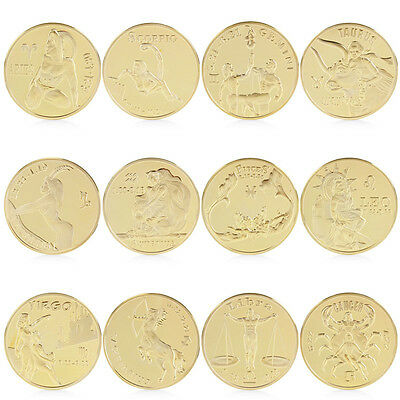 Gold Plated Twelve 12 constellation Libra Commemorative Coin Collection Physical