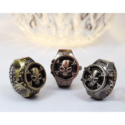 Hot Character Vintage Women Men Retro Skull Pattern Finger Ring Quartz Watchs