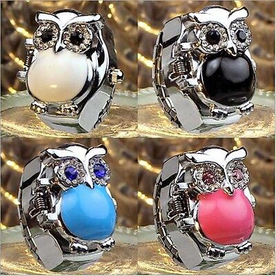 New Fashion Owl Men Creativity Finger Ring Quartz Dial Watch Colorful