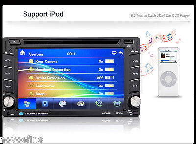 "6.2"" MAP Double 2 Din Touch Screen Car DVD Player GPS NAV Radio Stereo Bluetooth"