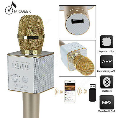 Q9 Microphone Wireless Bluetooth KTV USB Play W/ Mic Gold For iPhone6/6s/6p/se