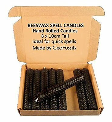 Set Of 8 Witchs Beeswax Spell Candles - Black - 10cm