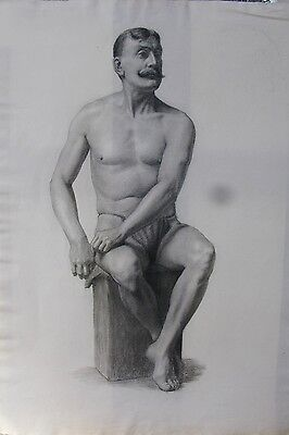 Antique life Drawing in Pastel - Large Drawing on Thick Cream Paper