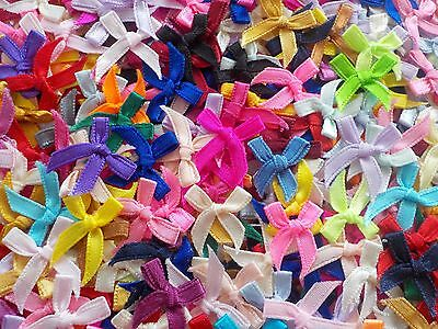 100! Very Cute Satin Bows For Cardmaking - Great Colour Mix - 4mm Ribbon Bow!