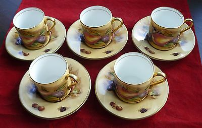 Set of 5 Aynsley Orchard Gold China Coffee Cups / Cans & Saucers Signed D Jones