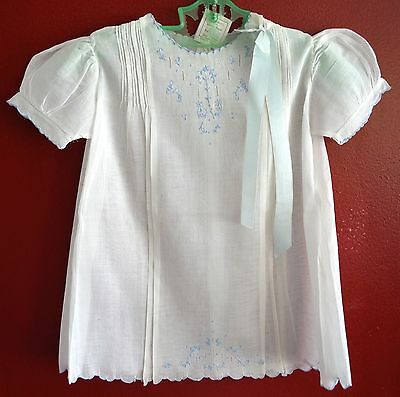 Vintage White Fine Cotton Christening Gown Dress Blue Embroidery Infant 1 Yr