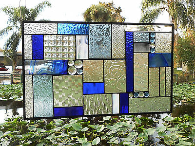Stained Glass Transom Window, Shades of Blue Mixed Media Stained Glass Panel