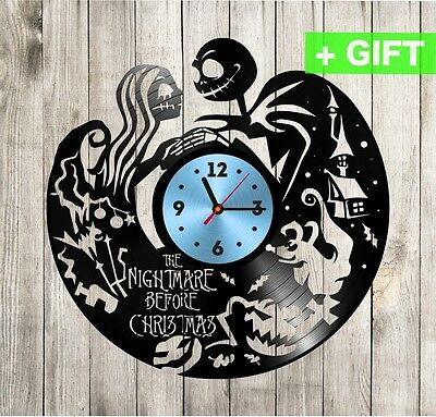 Jack and Sally unique vinyl clock Nightmare before christmas decal wall clock