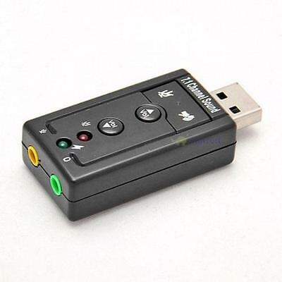 USB 2.0 EXTERNAL 7.1 CHANNEL AUDIO SOUND CARD ADAPTER - UK Seller