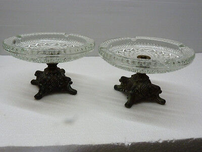 Pair of Antique Crystal Tazzas on Stylized Neo-Classical Foot, D 21.3 cm