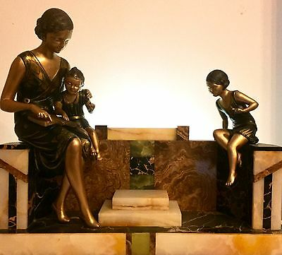 Art Deco Sculpture Figure Signed Uriano Mother With Children