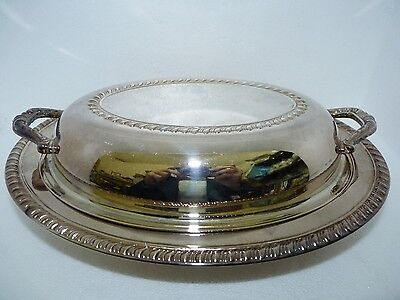 Vintage Canadian Viking Plate EP Silver-Plated Brass Fluted Serving Tureen L 11""