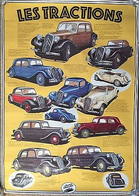 Very Rare Historic All Models Citroen Traction Car Showroom Garage Poster