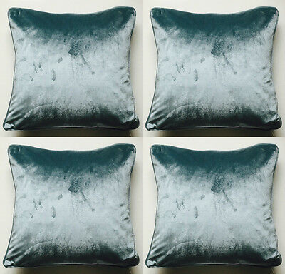 4  X Luxurious Super Soft Teal Milano Crushed Velvet Cushion Covers 56 X 56 Cms