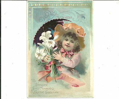 Two LARGE Victorian Trade Cards WOOLSON SPICE CO LION COFFEE  EASTER Girl Crying