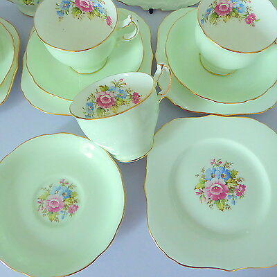 Vintage Hammersley Bone China Tea Set for Four, Mint Green and Floral, Gilt Trim