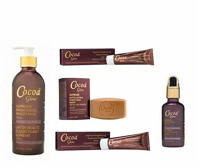 Cocoa Glow Supreme Beauty Milk+Lightening Serum+Soap+Cream+Gel Products.