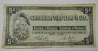 5 Cents Canadian Tire Corp'n Ltd Vintage Paper Bill Circulated