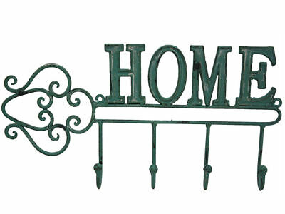 French Country Vintage Inspired Wrought Iron Antique Green HOME Sign with Hoo...