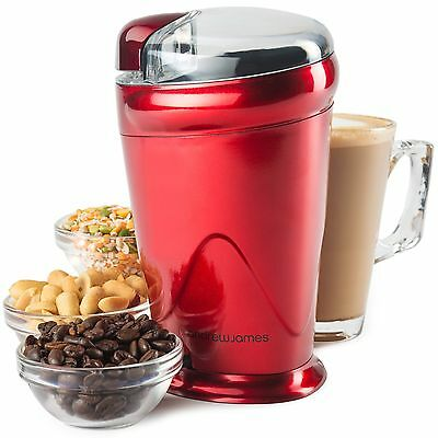 Andrew James Coffee Nut and Spice Grinder In Red - Powerful 150Watt Stainless...