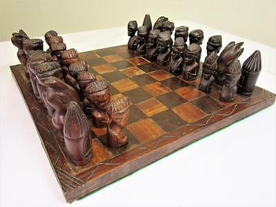 Vintage  African Carving  Chess Set Ebony & Iroko Wood ?