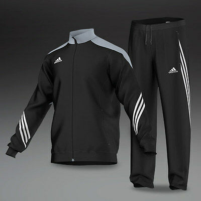 Mens Adidas Training Full Tracksuit Jogging Bottoms Top Black Tracksuits