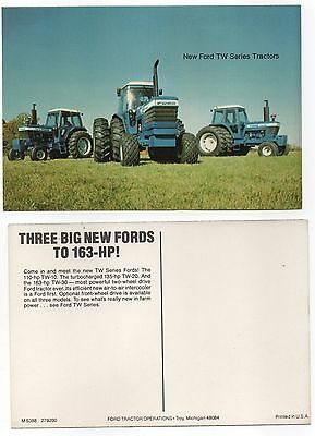 """Vintage """" New FORD TW Series Tractors """" DEALER ADVERTISING FACTORY POSTCARD"""