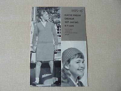 Rare Vintage Patons & Baldwins Wools Knitting Pattern for a suit & hat